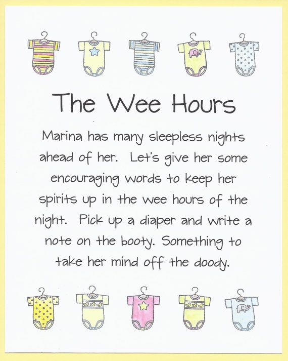 The Wee Hours Baby Shower Game Sign Cute Amp Funny