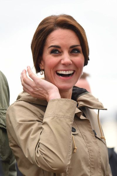 Catherine, Duchess of Cambridge smiles on the tall ship, Pacific Grace, before sailing with members of the Sail and Life Training Society at Victoria Inner Harbour on the final day of their Royal Tour of Canada on October 1, 2016 in Victoria, Canada.