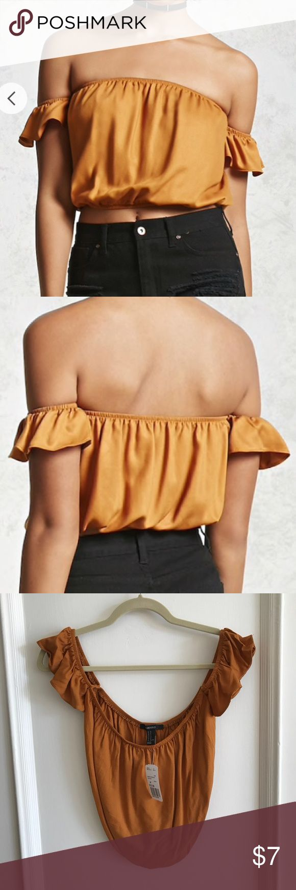 Off the shoulder camel crop top Brand new with tags; never worn Forever 21 Tops Crop Tops
