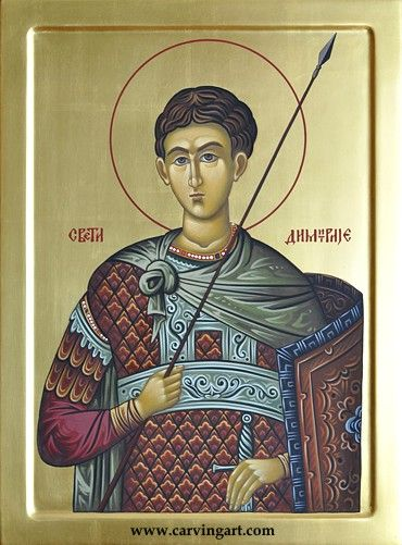 St. Demetrios - CarvingArt woodcarved miniatures & hand painted byzantine icons