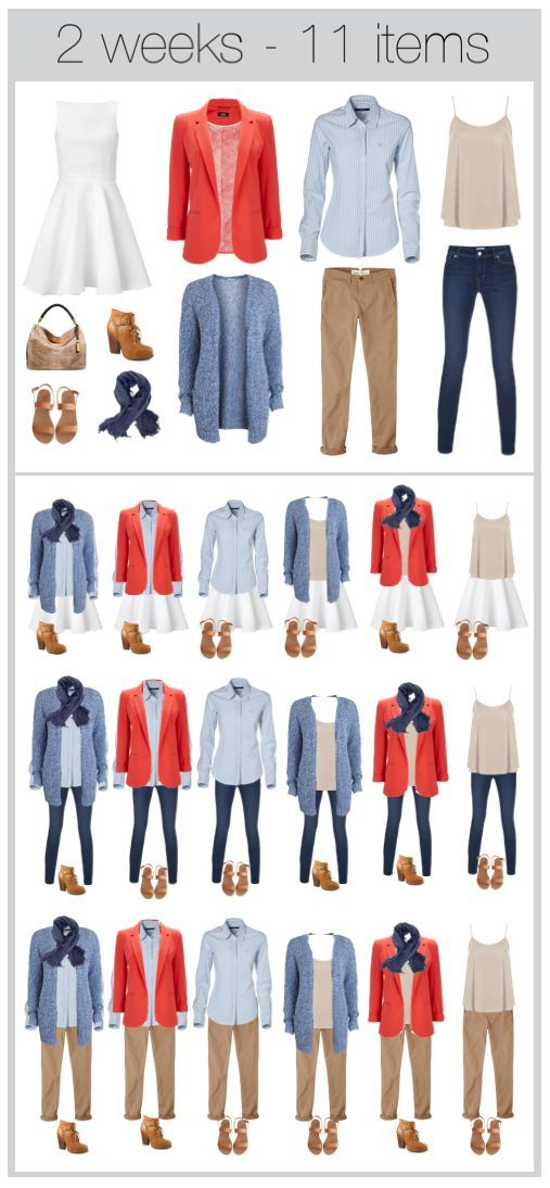 11 items 2 weeks of clothing. travel light. With a white dress being worn so often, it's going to need a few washes! I'd remove the chinos, add one more dress, a skirt / shorts and done!