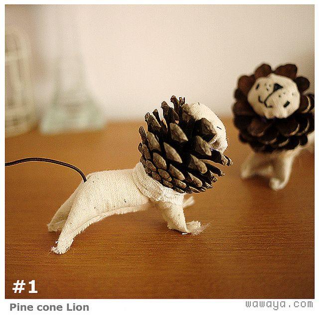 pine cone lions: Cones Lion, Crafts Ideas, Pinecone Lion, Pinecones, Homemade Christmas Decor, Pine Cones Crafts, Lion Love, Diy Pinecone, Kid