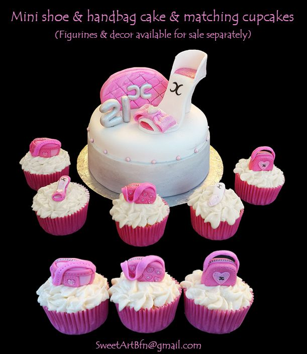 Mini Handbag & shoe cake plus matching cupcakes (Bloemfontein cake)