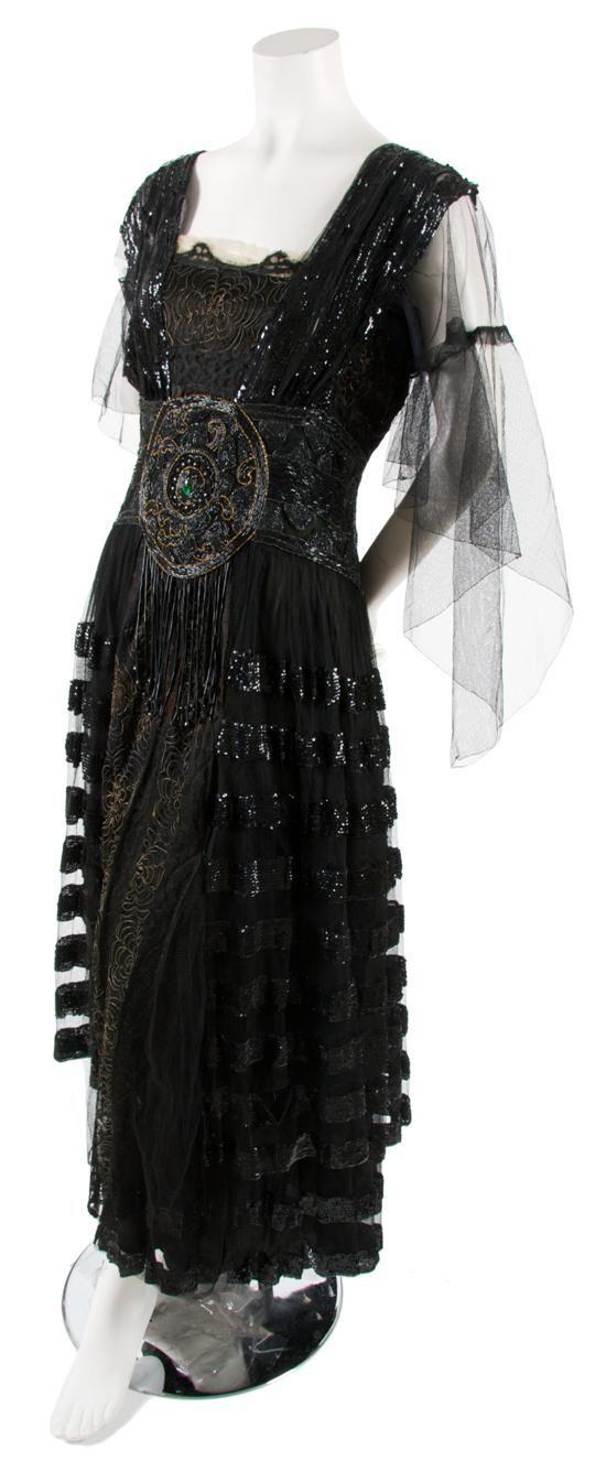 Black Tulle and Sequin Dress,   circa 1920 B. Atlman & Co./New York/Paris.