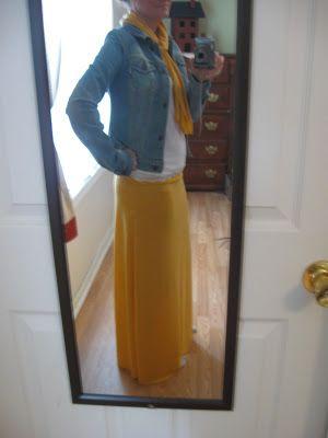Simple Livin: DIY fold down waist Maxi Skirt