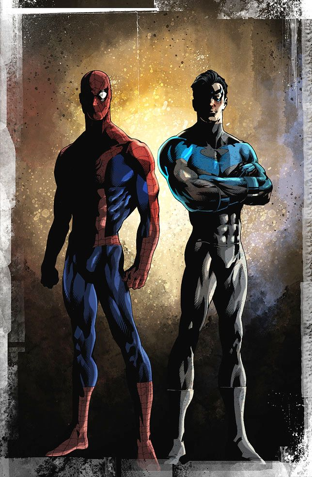 Spider-Man and Nightwing by ~EmmasDad <<< AHA!! Some of my friends were talking about Nightwing earlier but I couldn't remember him.