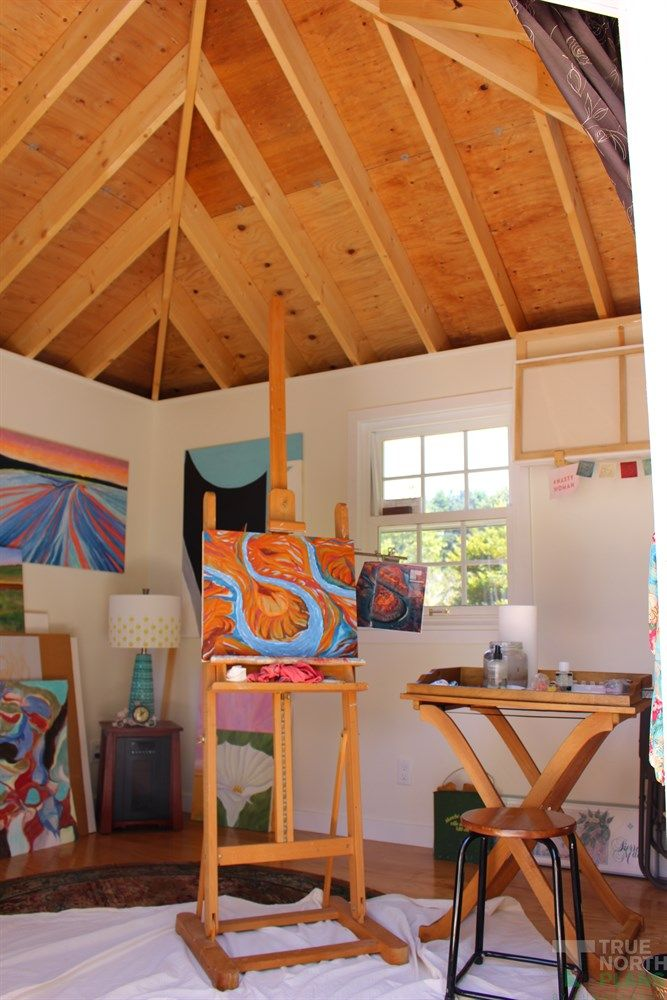 Inside look of Catalina 12ft garden shed with double french doors in Mendocino, California.