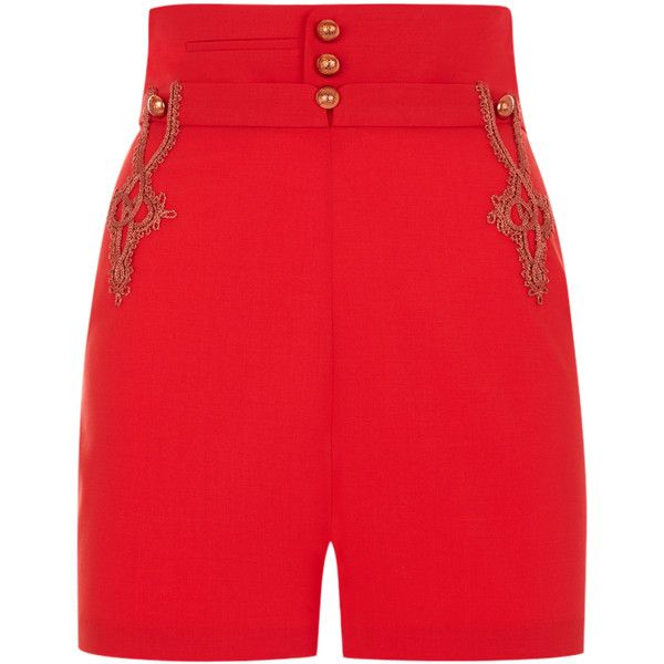 La Perla Daily Looks Red and Bronze Wool Stretch Shorts with Lurex... (800 CAD) ❤ liked on Polyvore featuring shorts, short shorts, high rise shorts, red high waisted shorts, fitted shorts and stretch shorts