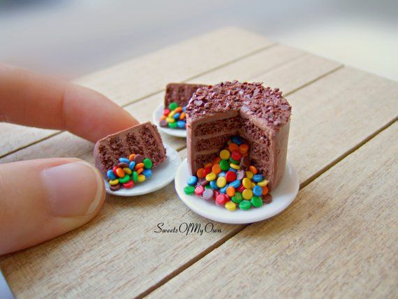 4 Chocolate Ball Cake with A Slice Cut Dollhouse Miniatures Food Bakery