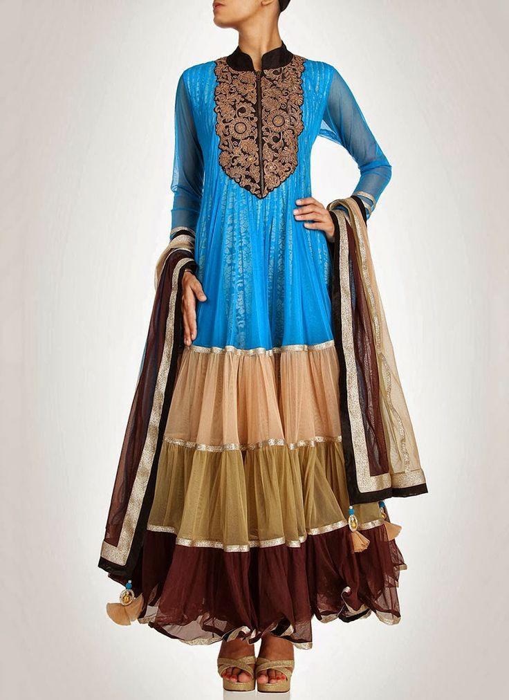 Sky Blue Color Long Anarkali Frock Suit Indian Frocks