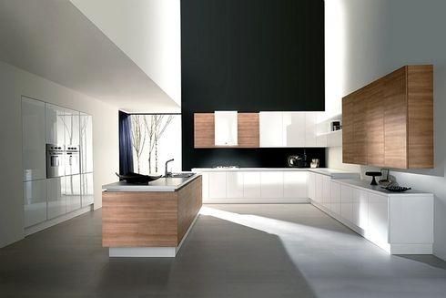 Combinatie hout wit en betonvloer. Mooi!