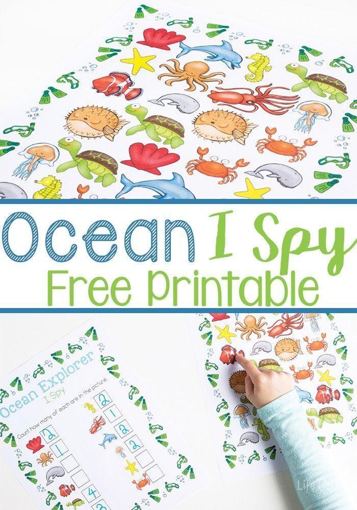 ocean i spy counting printable for preschoolers - Free Printable Kids
