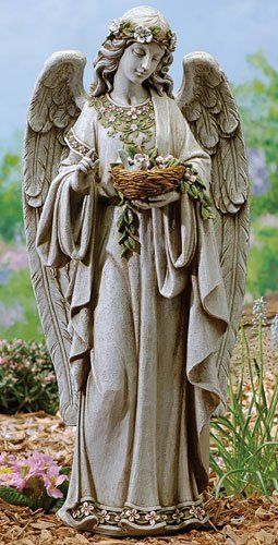 """24"""" Joseph's Studio Angel Holding Bird's Nest Outdoor Garden Statue by Roman. $104.99. From the Garden Statuary Collection by Joseph's StudioItem #62856Angel serenely holds a decorative bird's nest in her handMeticulously hand painted by highly skilled artisans with rich coloring and detailFor indoor/outdoor useDimensions: 24""""H x 10.75""""W x 8""""DMaterial(s): resin/stone mix"""