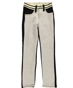 """Liquid Gold Girl Big Girls' """"Elasticized"""" French Terry Skinny Pants (Sizes 7 - 16) $5.99  Made of comfy French terry with lots of contrast, these Liquid Gold Girl skinny pants are sure to turn heads. Details include gem hardware, sewn-shut front pockets, and a striped elastic waistband."""