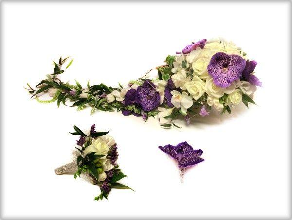 Finn Schjøll Blomster | Brudebukett med lilla blomster og hvitt