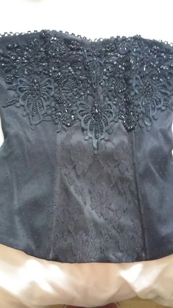 LADIES BLACK CORSET STYLE TOP SIZE 8  in Clothes, Shoes & Accessories, Women's Clothing, Tops & Shirts | eBay!