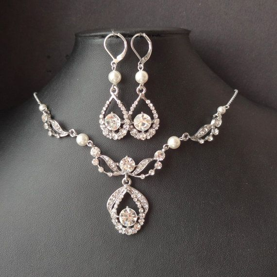 Art Deco Style Bridal Necklace & Earrings SET, Vintage Style Wedding Jewelry, Delicate Necklace and Earrings, ELISE