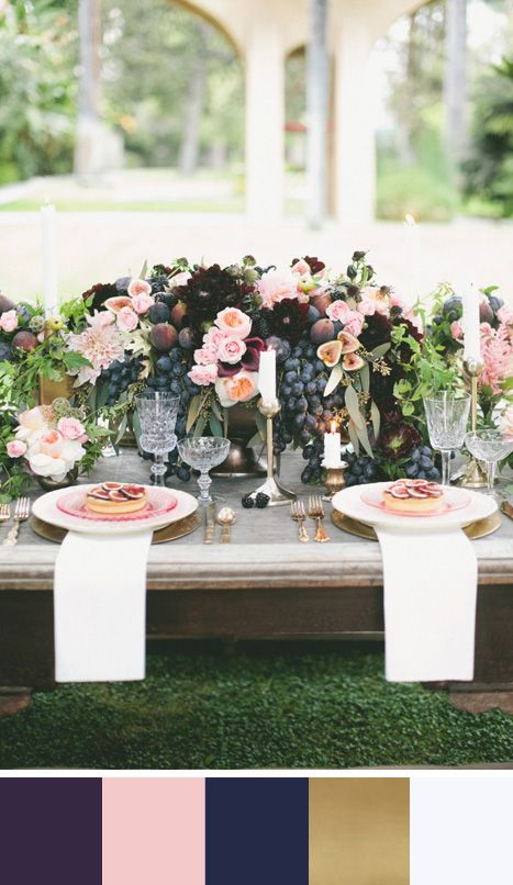 Elegant table setting in luxurious shades of purple, pink and gold. Source: Style Me Pretty. #tablescape #purple #colorpalette #destinationwedding