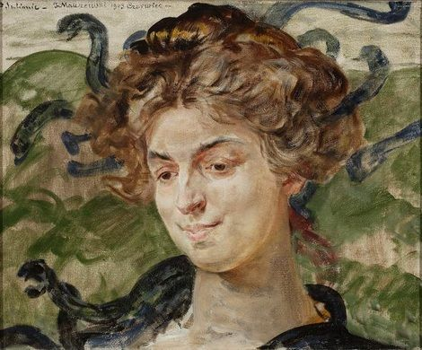 Jacek Malczewski, portrait of actress Sulima as Gorgon on ArtStack #jacek-malczewski #art