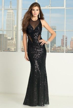 All sequin dress with illusion mesh inserts and illusion V-neck, racer and O-back<br><br>• Cut-out illusion inserts <br>• Illusion v-neckline <br>• Lower open back <br>• Back center zipper placement