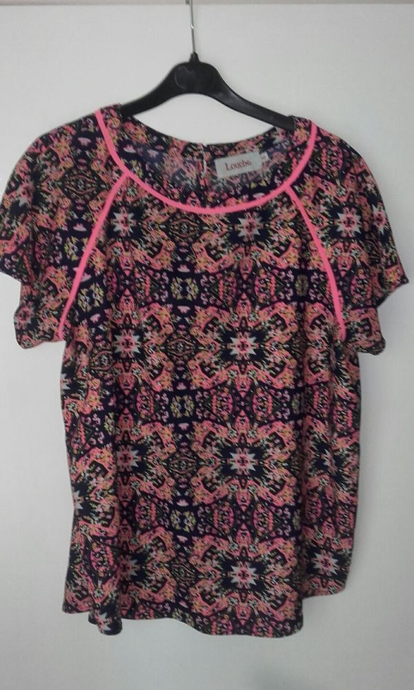 62efc3c157008 LADIES TOP BLOUSE SIZE 16 LOUCHE PRETTY ALL.OVER PRINT EX CONDTION  fashion