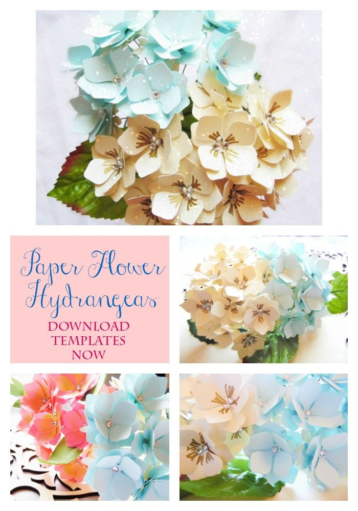 Paper Flower Hydrangeas. DIY paper flowers. Flower patterns and PDF templates. Easy paper flowers. #love