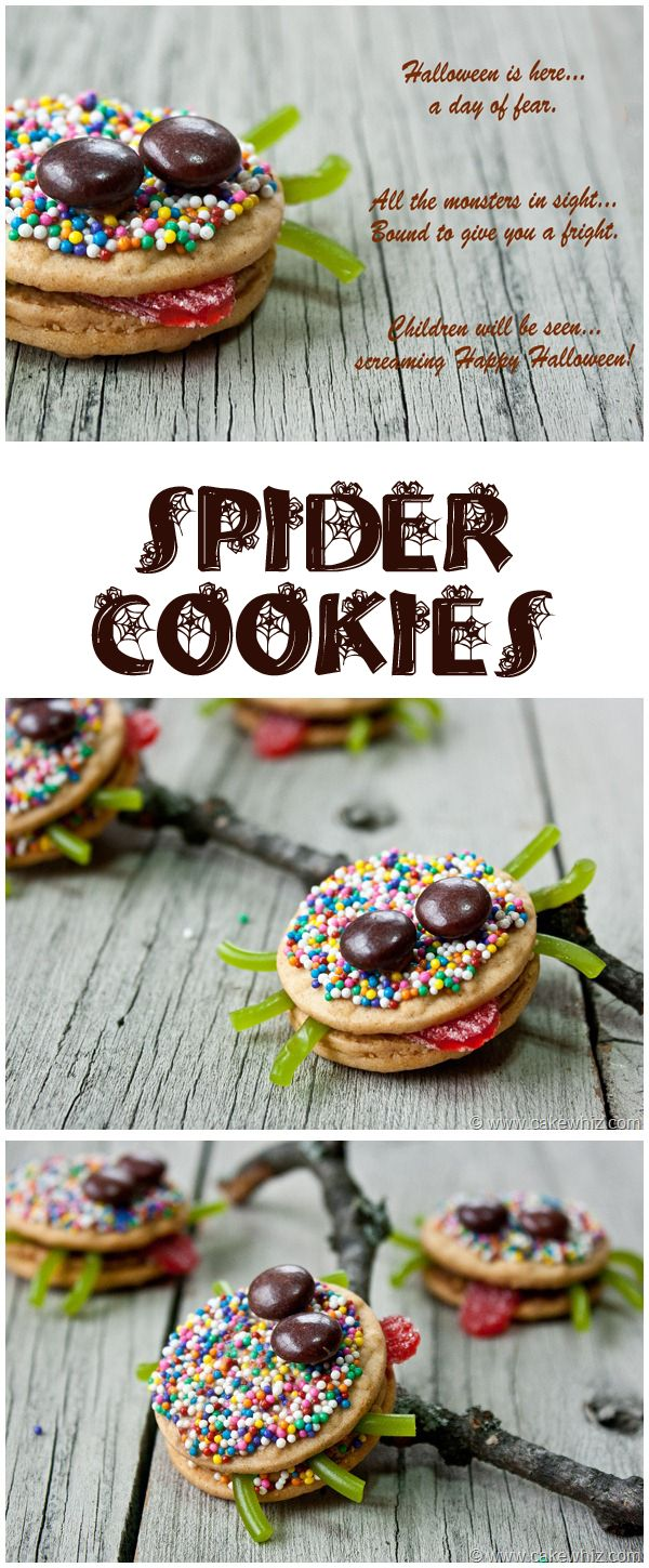 Sassy and sprinkly spider cookies with their tongues sticking out. Fun to make with the kiddos, especially little girls :) From cakewhiz.com