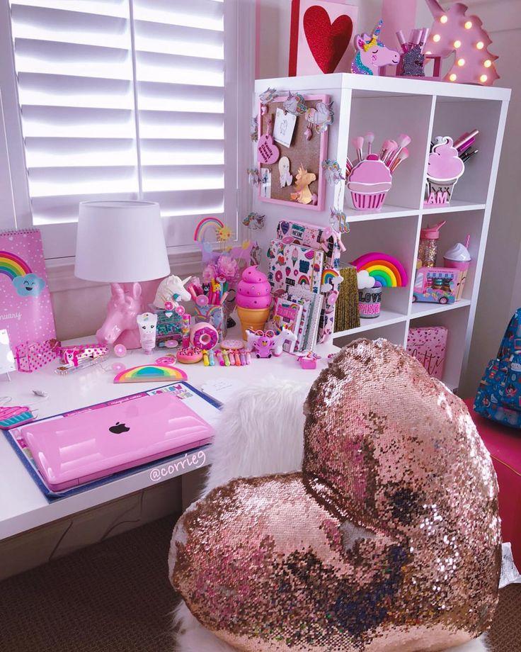"669 Likes, 20 Comments - ᑕOᖇIᑎᗩ (@corrie9) on Instagram: ""Happy Saturday #GirlyStuff #PinkComputer #Unicorns #UnicornLamp #Pink #UnicornMarquee #CuteOffice…"""
