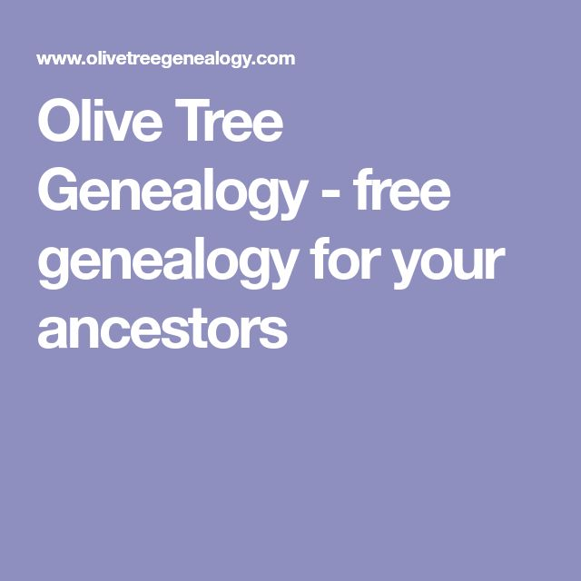 Olive Tree Genealogy - free genealogy for your ancestors