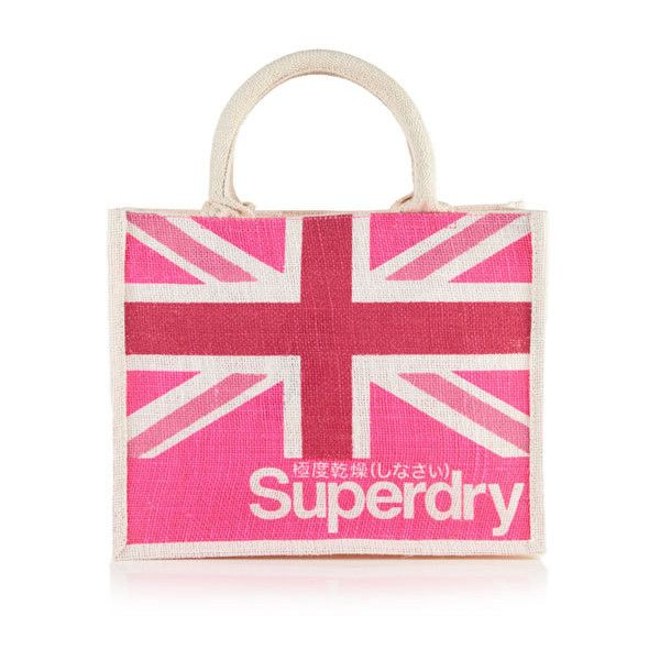 Superdry Super Life Small Tote Bag (23 BRL) ❤ liked on Polyvore featuring bags, handbags, tote bags, pink, print handbags, top handle purse, pattern tote bag, pink tote bag and union jack purse