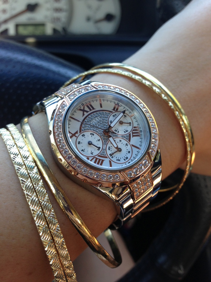 guess rose gold watch with bracelets accessories