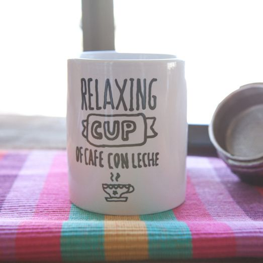 Taza ilustrada a mano relaxing cup of cafe con leche for Tazas cafe con leche