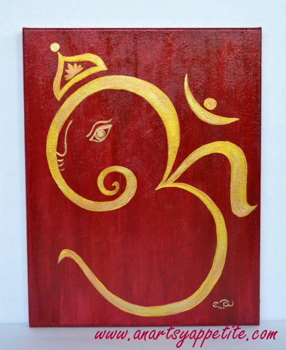 Om Ganesha Acrylic Canvas Painting by AnArtsyAppetite on Etsy