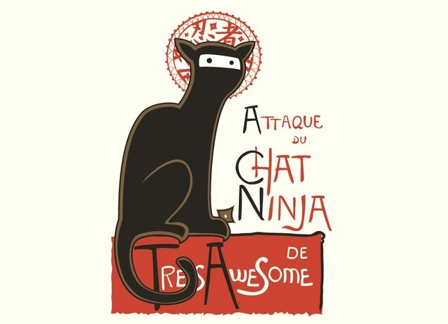 """A French Ninja Cat!"" - Threadless.com - Best t-shirts in the world. LOL, adorable. @Summer Ziggas - Maybe a ninja cat tattoo?"