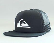 New Auth Quiksilver Bone Snapper Trucker Hat Snapback Golf Cap Surf OSFA Blk