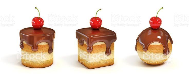 다양한 형태로 미니 케이크, 초콜릿 토핑 및 체리 royalty-free 스톡 사진