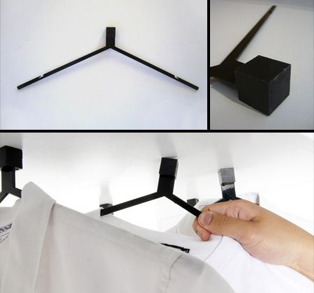 Magnetic Clothes Hangers These cool modern hangers replace the hook with a magnet and are accompanied by a suspended piece of metal to allow full freedom of arrangement and display of your clothes.