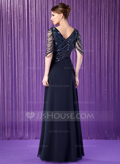Back looks interesting.  A-Line/Princess V-neck Floor-Length Chiffon Tulle Mother of the Bride Dress With Ruffle Beading Sequins (008018715)