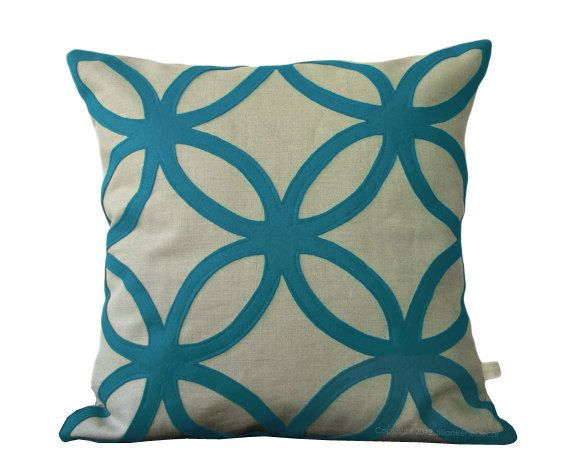 Teal+Decorative+Pillows | Teal Geometric DECORATIVE PILLOW COVER in Natural Linen by ...