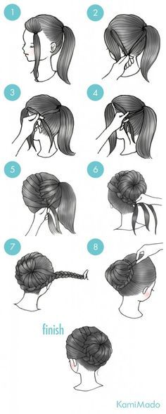 ポニーテールにして、前髪は左に寄せて結びます。 2. 前髪とポニーテールの髪を少量取ります。 3. 交差させます。 4. 前髪とポニーテールの髪をさらに取り編込みます。 5. 徐々に髪をすくいながら下に向かって編込んでいきます。 6. ポニーテールの髪をすくいながらお団子状になるように編込んでいきます。 7. 編込めるとこまで編込んだら、残りの毛先は三つ編みにしましょう。 8. 毛先をお団子の周りに巻き付けてピンで留めれば完成!