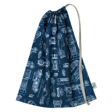 Vintage Cars Drawstring Library Bag or Toy Bag. Car Blueprints in Blue.