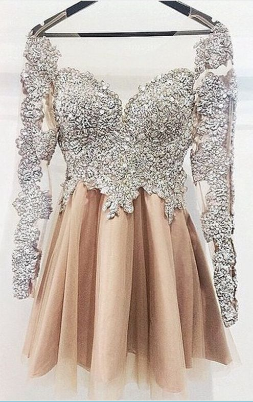 Long Sleeves Homecoming Dresses,Silver Champagne Cute Homecoming Dress,Vintage Short Prom Dress Homecoming Dresses,Short Party Prom Gowns For Teens Junior Girls,Custom size Prom Dresses,High Quality Evening Party Dress