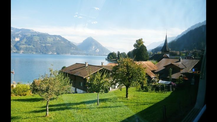 Window view(Lake Thun)-Train(SBB) to Interlake Ost, Switzerland 2016