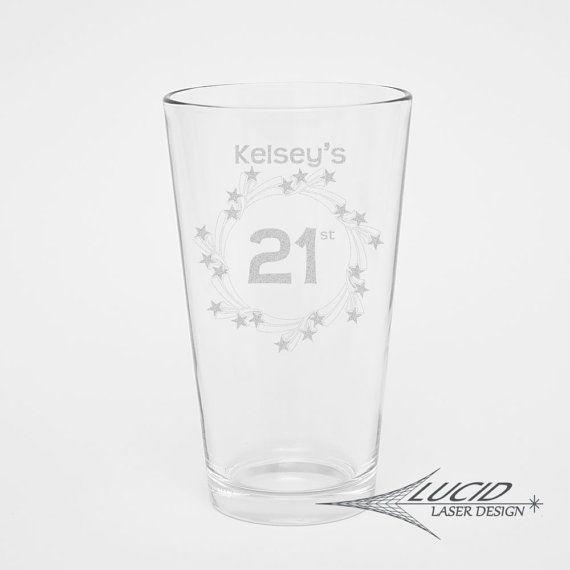 CUSTOMIZED BIRTHDAY PINT Glass~ 21st Birthday ~ Stars ~ Personalized Wine Glass ~ 21 Run ~ Beer Glass ~ Drinking Glass ~ Birthday Party