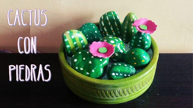 Cactus con piedras pintadas - MANUALIDADES DIY