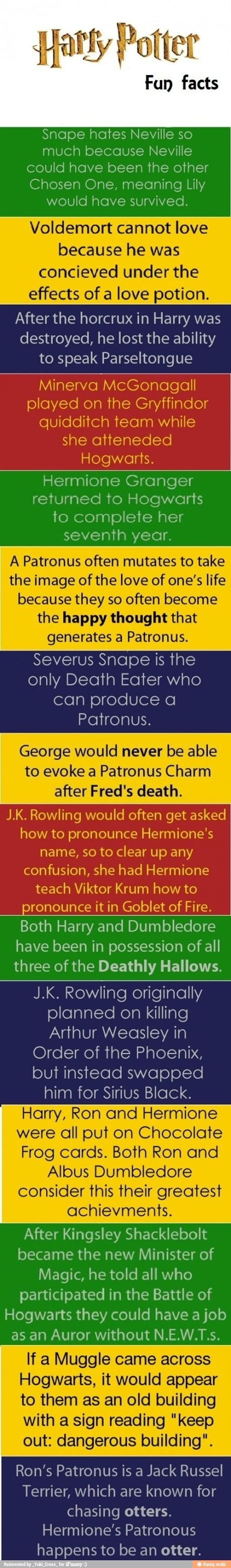 Harry Potter fun facts!!