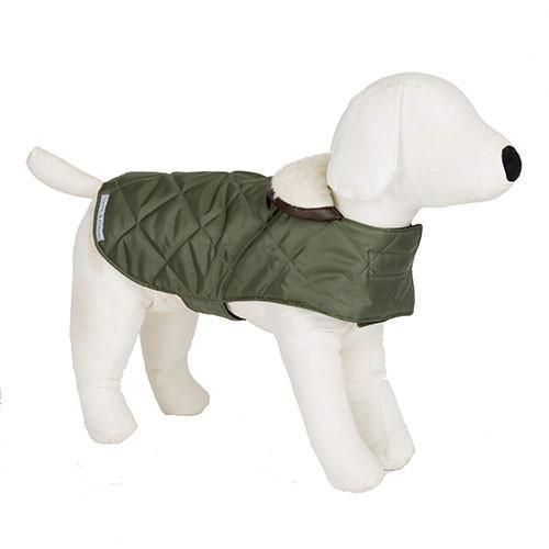 Luxury Olive Quilted Coat - Mutts and Hounds