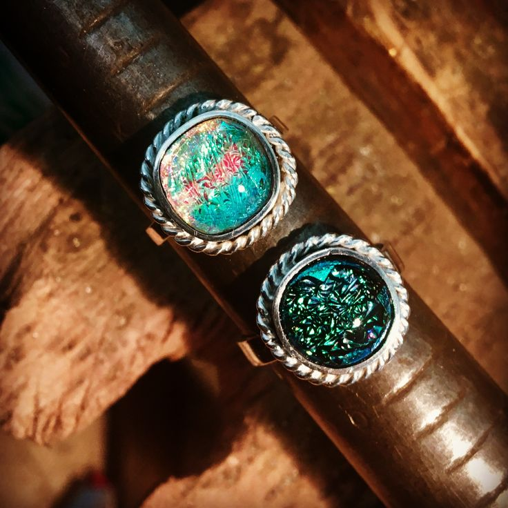 sterling silver rings set with dichroic glass