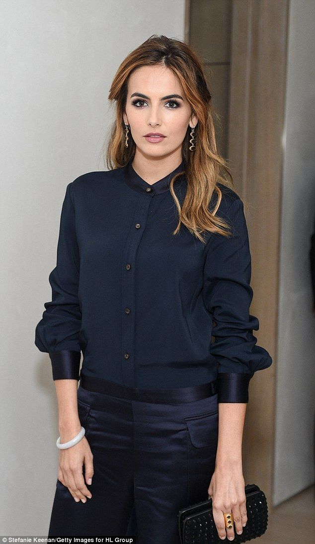 Belle of the ball: Actress Camilla Belle copied Demi with silk navy trousers and a matchin...