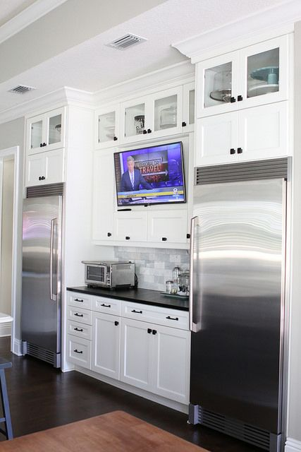 Tv In Kitchen Between Full Size Refrigerator And Full Size